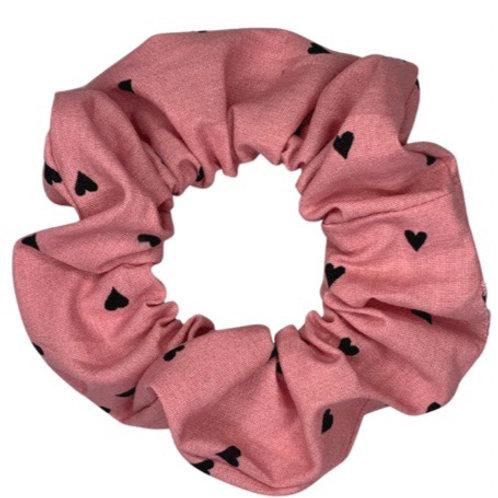 Pink Heart Scrunchie