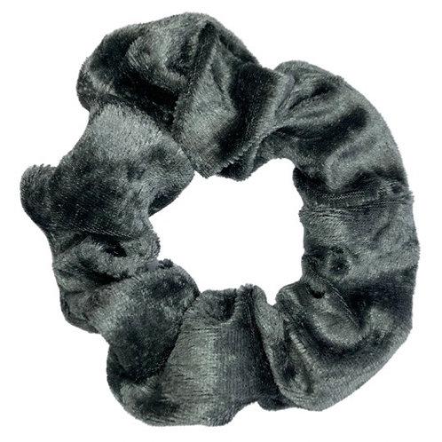 Dark Grey Crushed Velvet Scrunchie