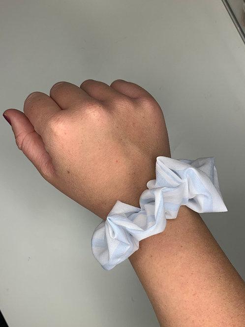 Blue and White Striped Scrunchie
