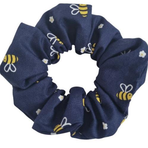 Navy Bee Scrunchie