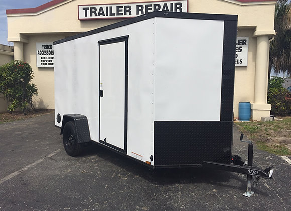 Black Diamond Cargo Enclosed 6x12 Single Axle White Trailer W/ Black Trim