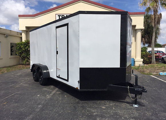 Black Diamond Cargo Enclosed 7x16 Tandem Axle Trailer White w/Black Trim Package