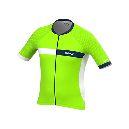 Male Cycling Jersey HIPS Green Fluor