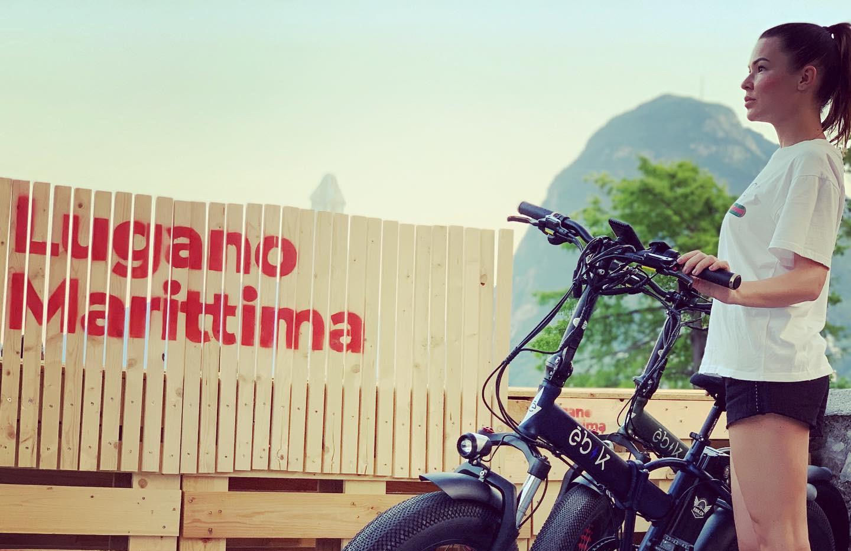 Ebik Brick Lane with biker girl at Lugano Marittima