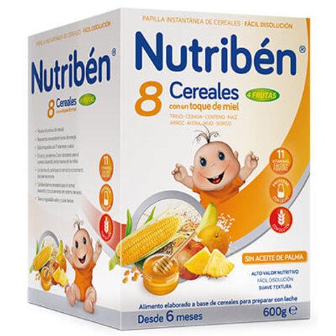 PAPILLA NUTRIBEN 8 Cereales con un toque de miel 4 frutas 600g
