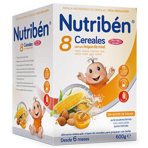 PAPILLA NUTRIBEN 8 Cereales con un toque de miel Frutos Secos 600g