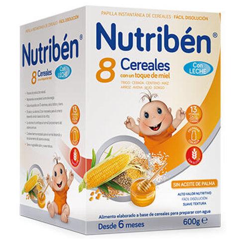 PAPILLA NUTRIBEN 8 Cereales con un toque de miel con leche adaptada 600g