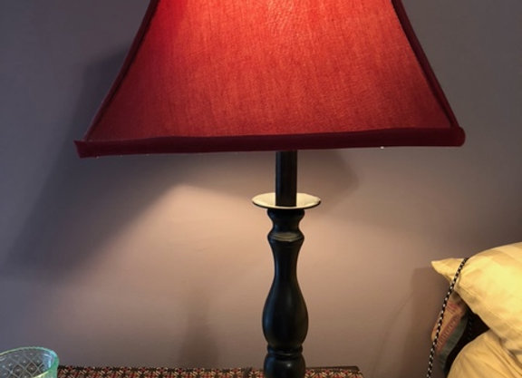 """Side Table Lamp Red, 25"""" Tall"""