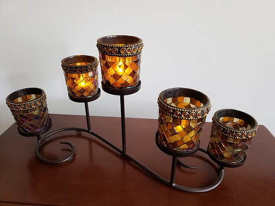 5-Candle Amber Mosaic Tea Light