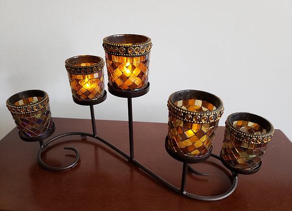 5-Candle Amber Mosaic Tea Light