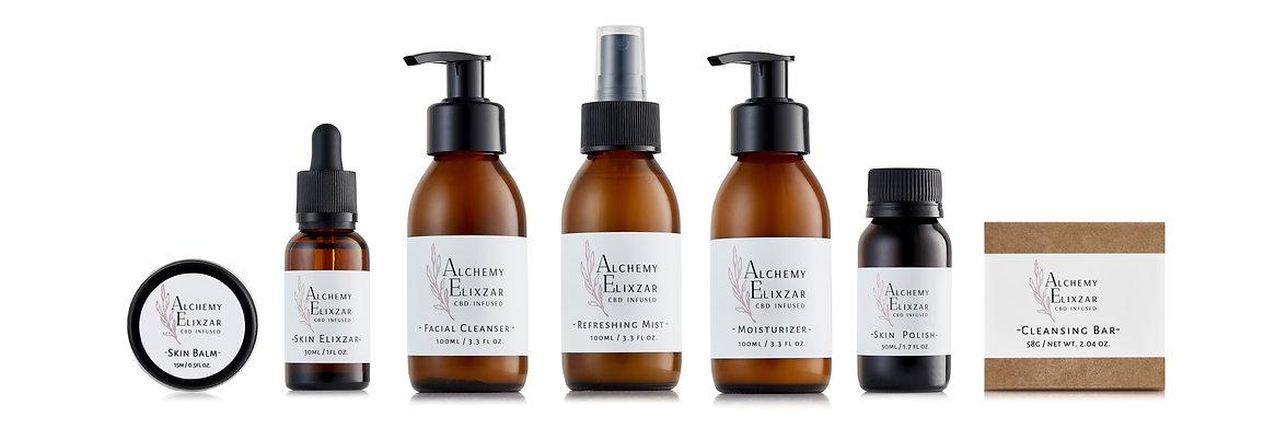Alchemy Elixzar CBD skincare product range