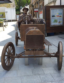 Bronze model T Ford. Cameron Square. Wes