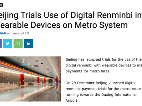 Digital RMB Payments via wearable devices