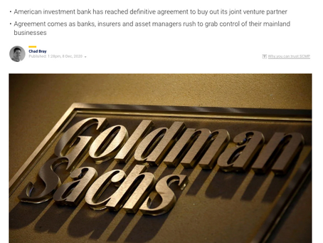 Goldman Sachs takes 100% ownership of China securities arm