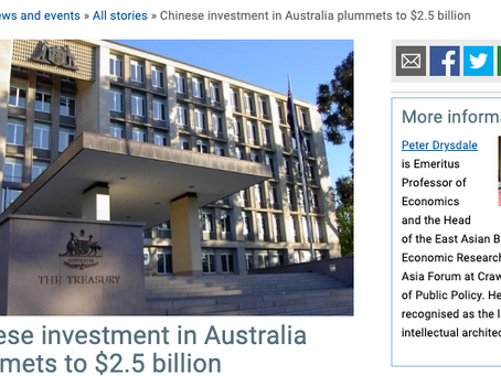 How much of Australia does China invest in? (Less than before)