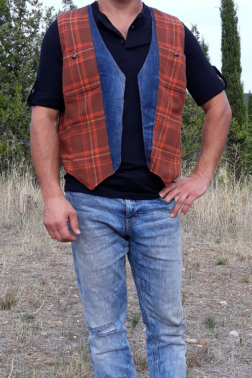 Gilet homme jean's tissu à carreaux rouille Vest hipster M