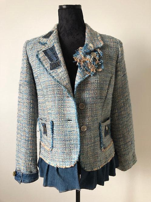Veste bleu moucheté et jean. Unique handmade clothing