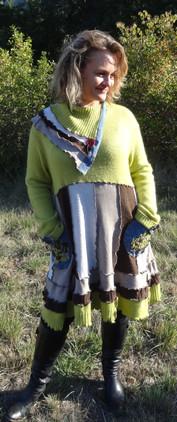 Robe pull verte, marron et jean