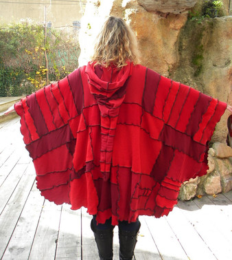 Poncho patchwork rouge
