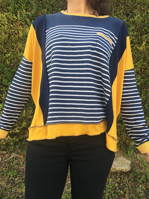 Pull fin oversize. Rayé bleu marine et blanc. Moutarde. Upcycling