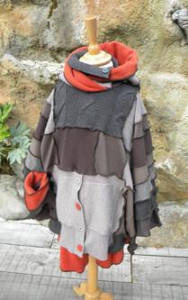 Poncho 2 en 1. Poncho laine+poncho polaire+bonnet