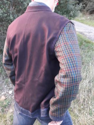 Veste laine manches tweed carreaux