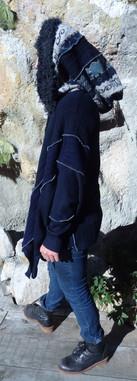 Gilet oversize bleu, grande capuche patchwork