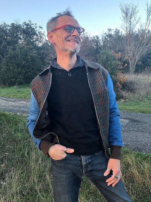 Blouson laine et jean's homme hipster jacket upcycled M