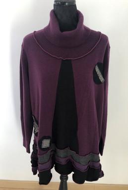 Pull tunique noir, violet,  cachemire