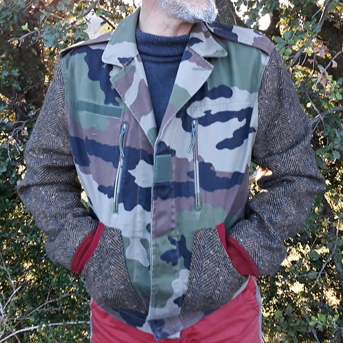 Veste militaire manche laine, hipster jacket upcycled M