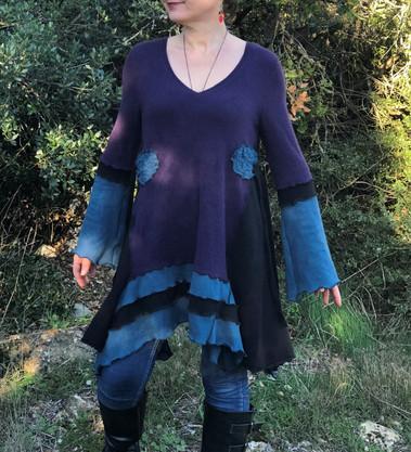 Tunique cachemire violet, noir et vert canard