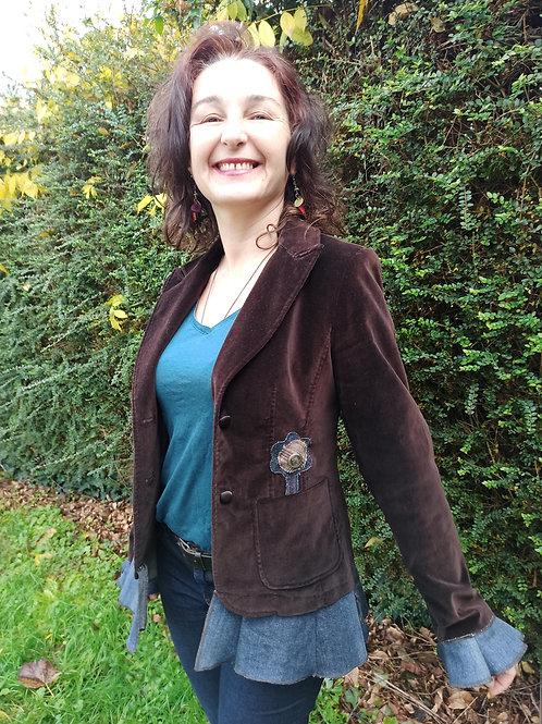 T 36. Veste velours marron chocolat. Jean's, tissu à carreaux.