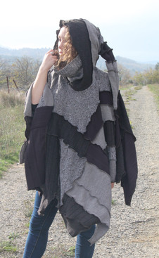 Poncho patchwork marron