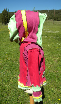 Gilet fille rose Grande capuche
