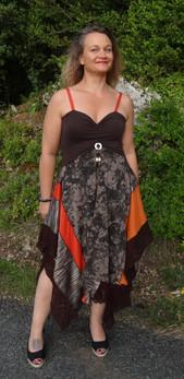 Robe été imprimé marron et orange