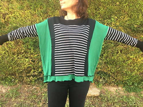 Pull fin oversize. Rayé noir et gris. Vert et noir. Pull tunique. Remade.