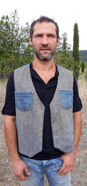 Gilet tweed gris imprimé, jean's