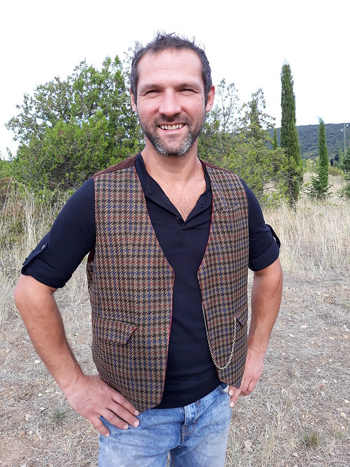 Gilet homme Tweed, Velours, Satin Vest hipster Upcycled M