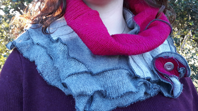 Snood rose fushia et gris