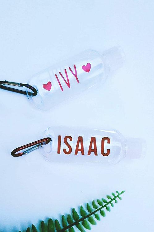Personalised hand gel bottle