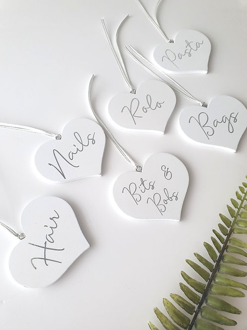 5 Wooden Heart Tags
