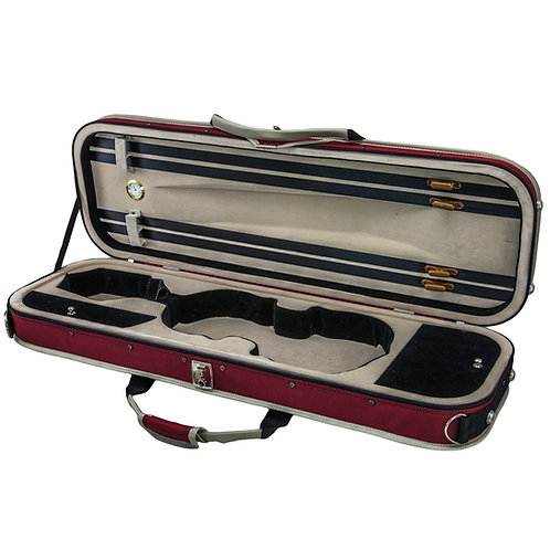 SKY 4/4 Full Size Violin Oblong Lightweight Case with Hygrometer Red/White Sport