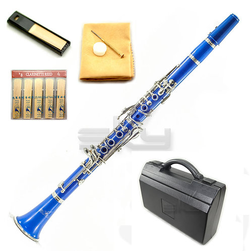 SKY Blue ABS Bb Clarinet with Case, Mouthpiece, 11 Reeds, Care kit and