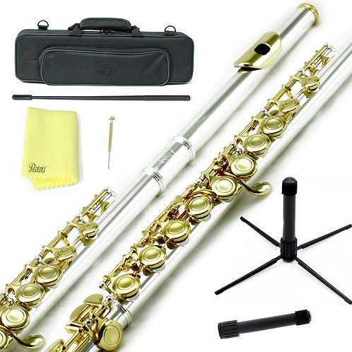 Sky C Foot Silver/Gold Flute with Lightweight Case, Cleaning Rod, Cloth, Stand