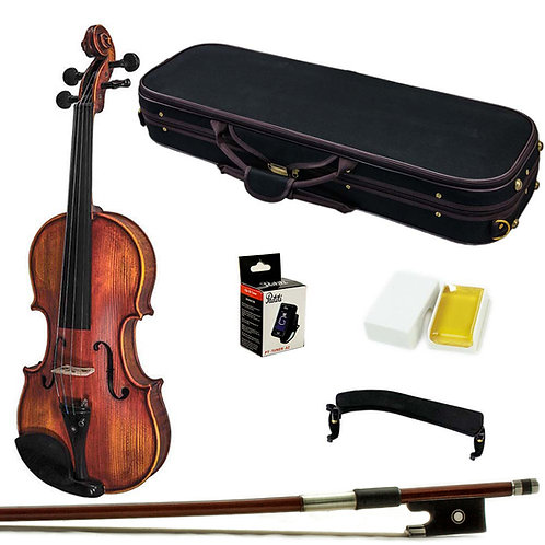 Paititi VN07A Hand Carved Solid Wood Ebony Fitted Violin Outfit