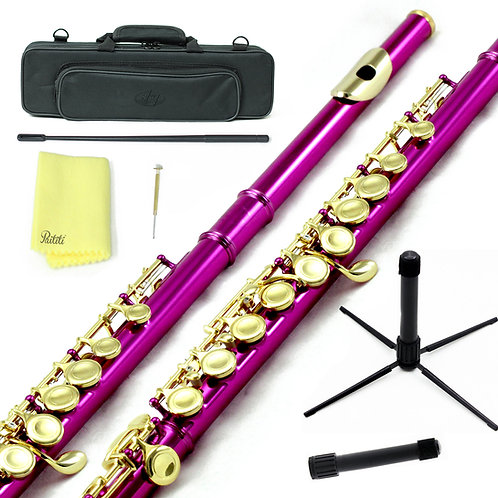 Sky C Foot Hot Pink/Gold Flute with Lightweight Case, Cleaning Rod, Cloth, Stand