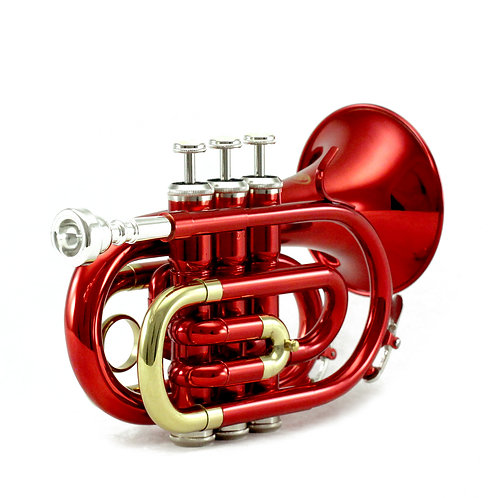 Sky Band Approved Wine Red Lacquer Brass Bb Pocket Trumpet with Case and More
