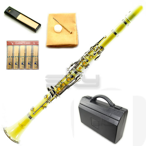 SKY Yellow ABS Bb Clarinet with Case, Mouthpiece, 11 Reeds, Care kit and