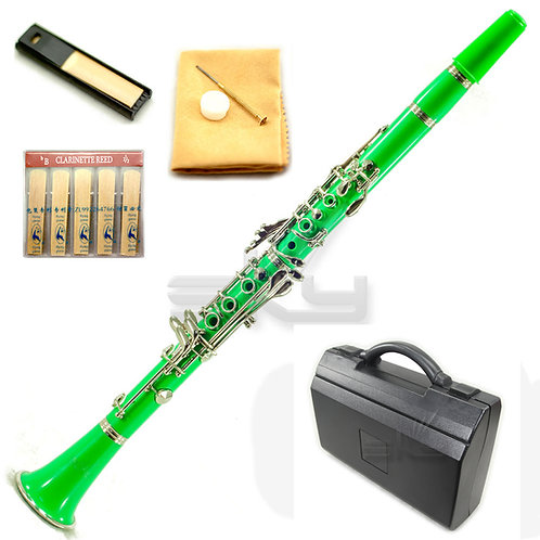 SKY Green ABS Bb Clarinet with Case, Mouthpiece, 11 Reeds, Care kit and More