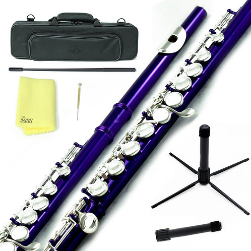 Sky C Foot Purple/Silver Flute with Lightweight Case, Cleaning Rod, Cloth, Stand